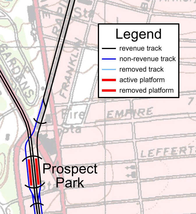 Detail, Brooklyn's Franklin Avenue Shuttle Track Map
