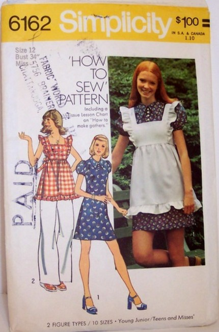 Vintage Simplicity 6162 Pinafore Dress Boho Alice In Wonderland Style Jumper Size 12