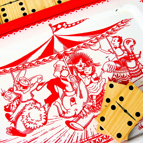 Vintage Carousel Tray & Wooden Dominoes