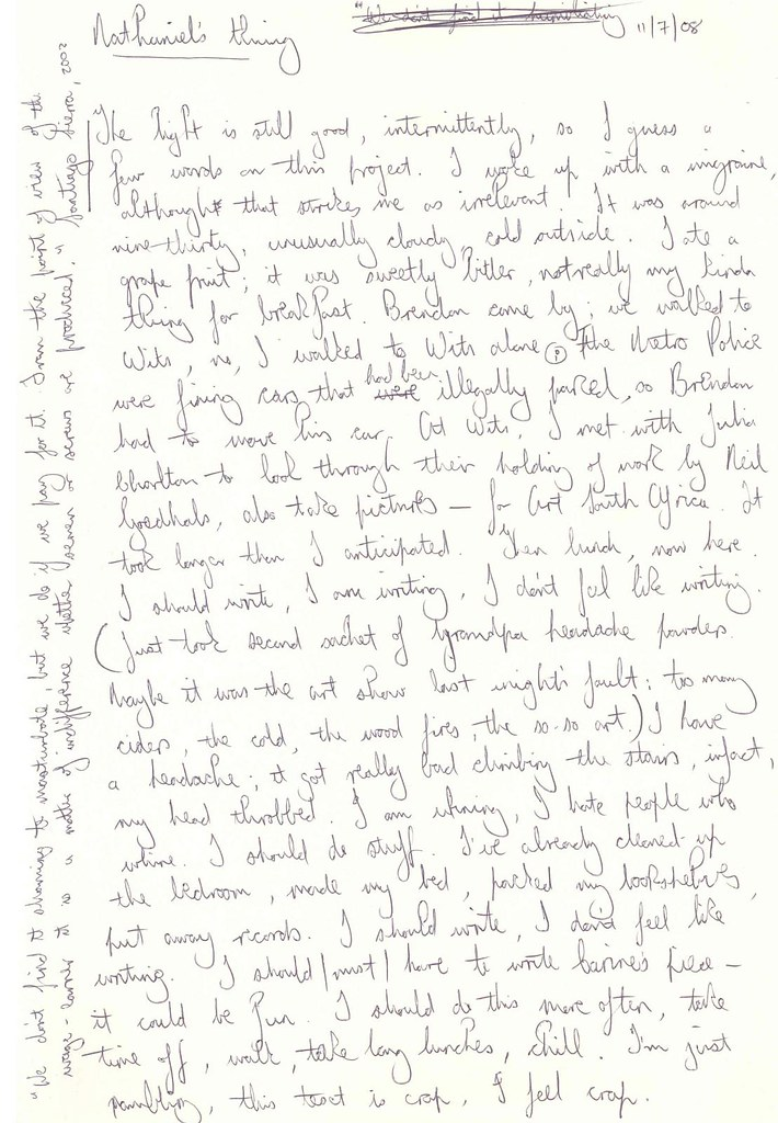 Sean O'Toole's hand-written notes, page 1