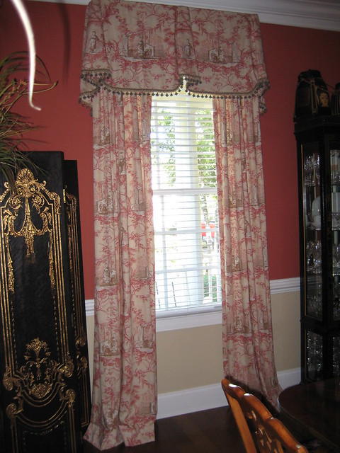 Window Treatments For Tall Windows In Contemporary Dining Room
