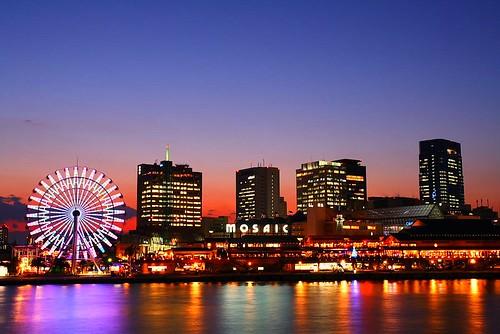 sunset japan night kobe nightview