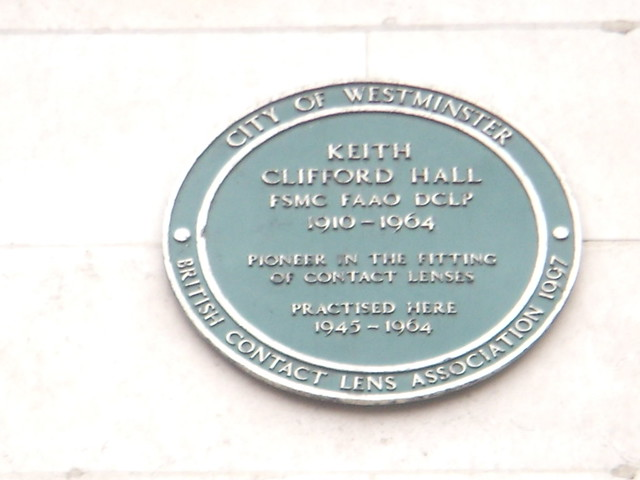 Keith Clifford Hall green plaque - Keith Clifford Hall FSMC FAAO DCLP 1910-1964 Pioneer in the fitting of contact lenses practised here 1945-1964