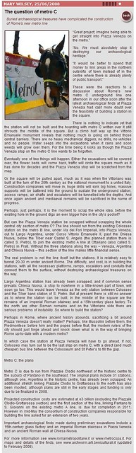 "Roma – I Fori Imperiali (1995-2008). Pt. 1 - Metro 'C' Subway - Archaeological Surveys: Chiesa Nuova, Largo Argentina, Piazza Venezia & via di Cesare Battisti, Piazza Madonna di Loreto, Basilica Argentaria.  Mary Wilsey, ""...Metro C."" (25.06.2008)."