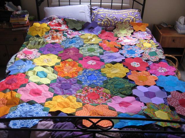 Large Grandmother 39 S Flower Garden Quilt Progress August 2008 001 Flickr Photo Sharing