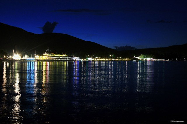 A Night Shot of Lake George Village
