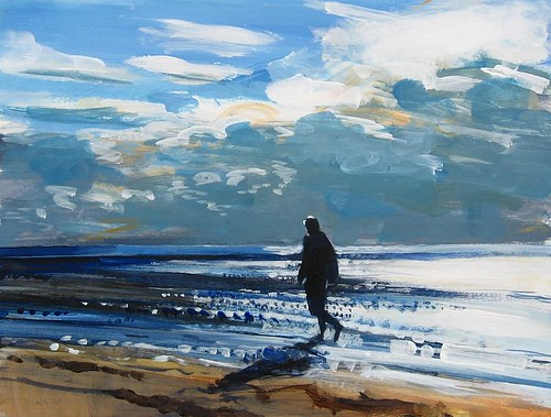 A painting of a figure walking a long a beach by David Pott.
