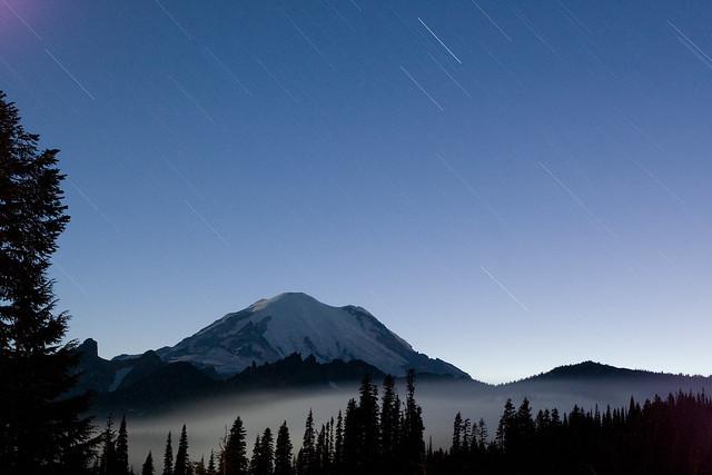 Starlight Rain over Mount Rainier