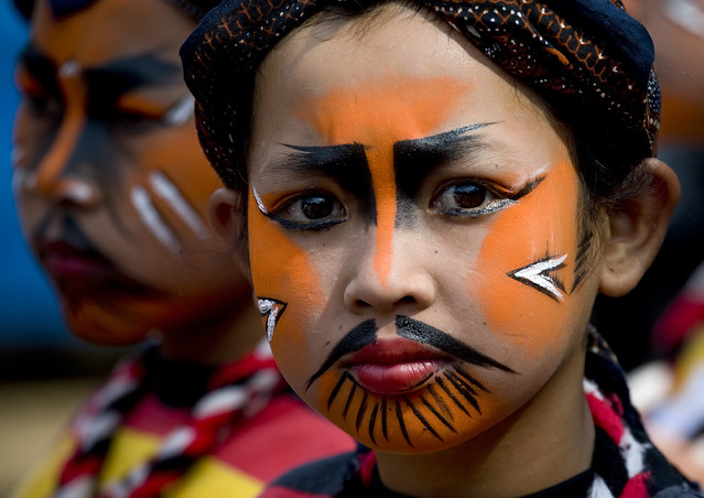 Kid with make up for festival, Java, Indonesia