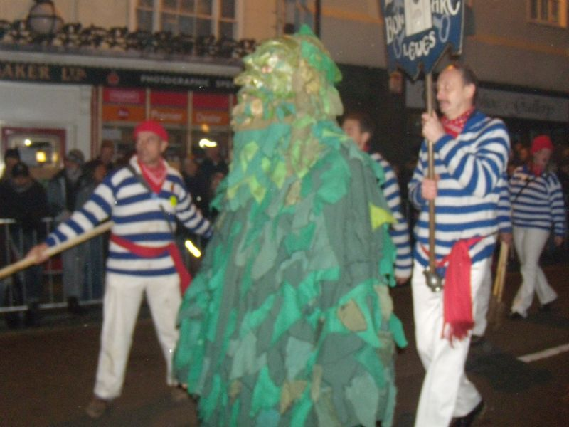 Borough marchers with green man Borough marchers with green man Lewes circular via Rodmell Lewes bonfire night