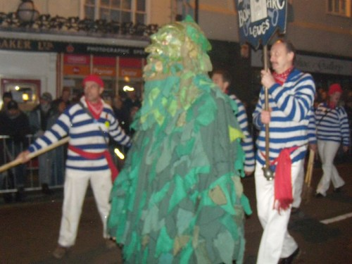 Borough marchers with green man