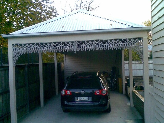Gable roof carport with lattice colorbond steel roof for Trellis carport
