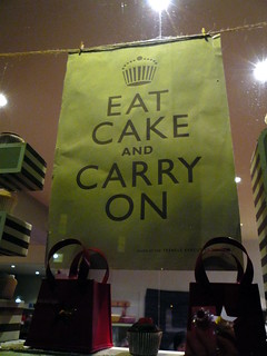 Eat Cake and Carry On sign, Christmas on Columbia Road, London, UK.JPG