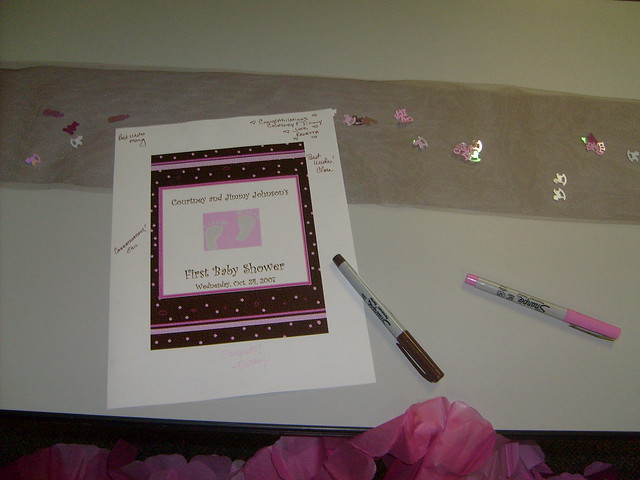 pink brown baby shower sign in table flickr photo sharing