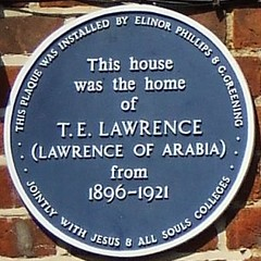 Photo of T. E. Lawrence blue plaque