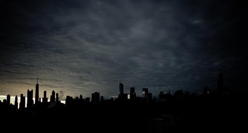 morning sky cloud moon chicago storm silhouette skyline clouds sunrise day crash planet aroundtown johnhancockbuilding chicagoist