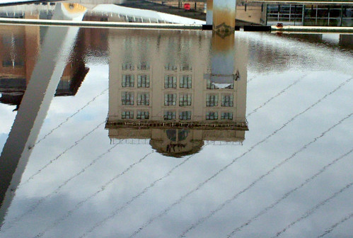reflected in the river at the Millenium bridge, Gateshead 02