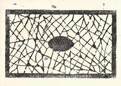 Cartouche network on cornflower paper