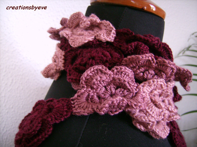 crochet flowers scarf  Flickr  Photo Sharing Crochet Flower Scarves