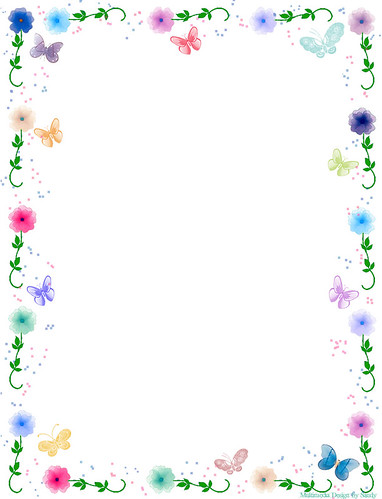 floral butterfly border stationery