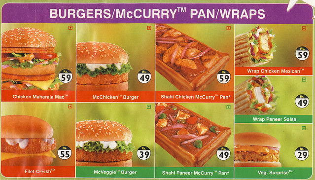 Indian McDonalds Menu