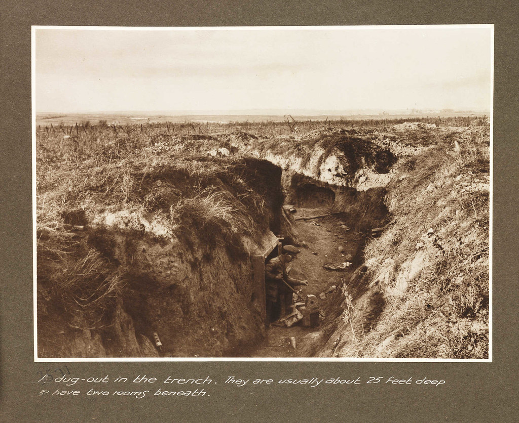 A dug-out in the trench. They are usually about 25 feet deep and have two rooms beneath