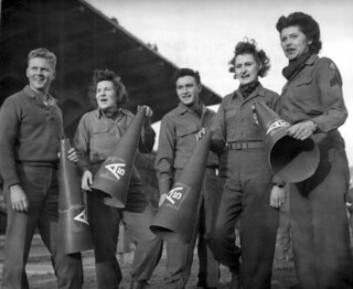 WAC and GI cheerleaders at the Spaghetti Bowl in Florence, Italy (1 January 1945)