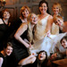 the bride, her 8 best friends, her mom, and her enormous dress