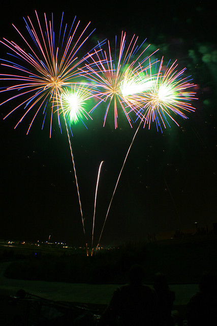Fireworks, purple, blue, green   July 3rd Fireworks at ...
