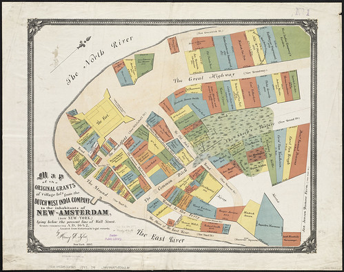 Map of the original grants of village lots from the Dutch West India Company to the inhabitants of New Amsterdam