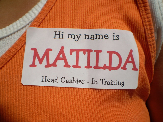 yard sale fun - name tag