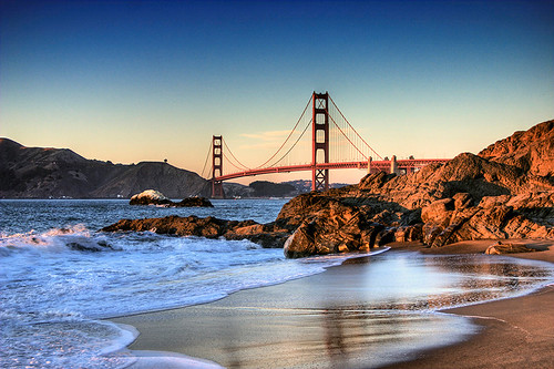 sanfrancisco beach waves goldengatebridge hdr flickrsbest