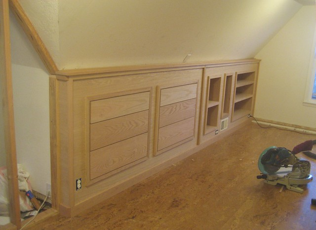 attic knee wall ideas - Finished built in knee wall cabinetry