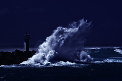 sea, ocean, lighthouse, moonlight, wind wave, wave, coast, darkness, tower, night,