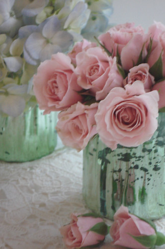 Shabby Roses in Mercury Glass