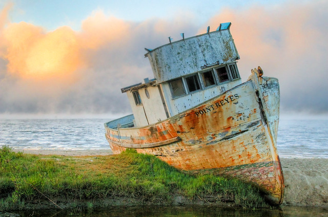 Shipwreck of Point Reyes at Twilight by Orin Zebest