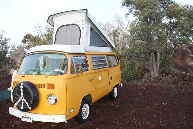A permanently parked, classic Volkswagen pop-up camper van, Lova Lava Land Eco-Resort, Hawaiian Ocean View, Hawaii