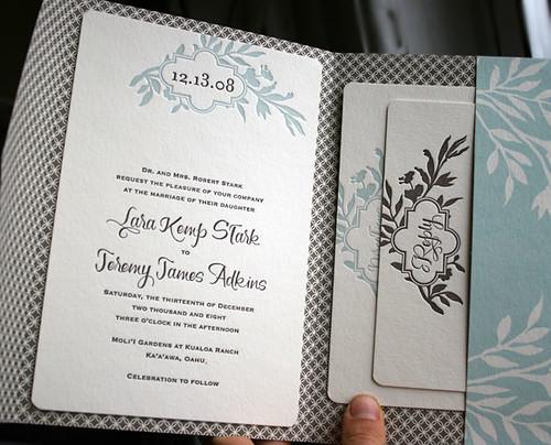 Wedding Invitations Pocketfold: Letterpress Wedding Invitations
