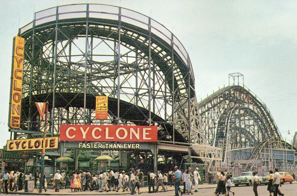 """Faster Than Ever"" Coney Island's Cyclone roller coaster post card 1950's"