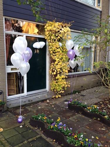 Tafeldecoratie 5ballonnen Lila Wit