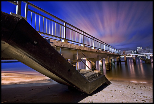 longexposure pink sky seascape beach water metal skyline clouds stairs reflections landscape lights coast pier twilight sand nightscape nightshot dusk jetty steps 1022mm canon1022 5mins 300sec goldstaraward darrellneo