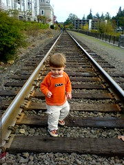taking a walk on the train tracks, just like he saw …