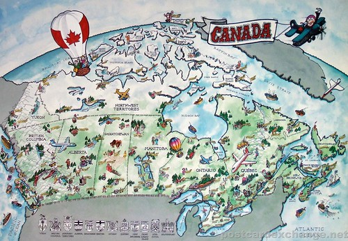 Postcard - Painted Map of Canada