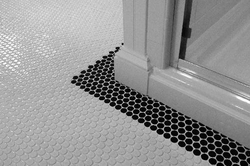 Penny Tile Floor Kitchen