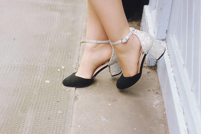Topshop Glitter Heel Shoes