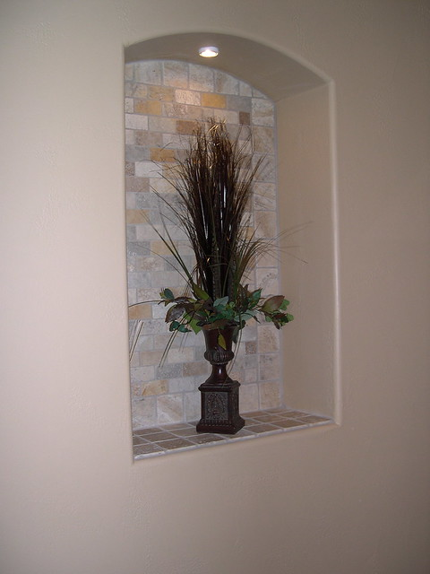 Travertine decorative niche flickr photo sharing for How to decorate an alcove in a wall