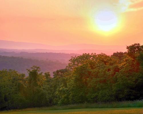 sunset sun mist mountains nature landscape johannwolfgangvongoethe