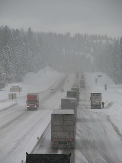 Winter driving on I-84 at Meacham Hill Oregon