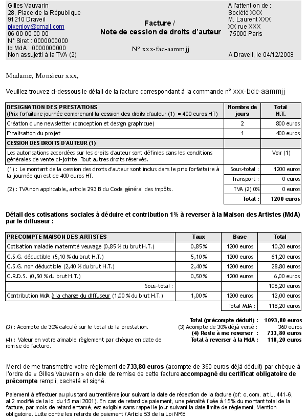 Modele note agessa document online for Agessa maison des artistes