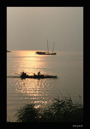 life china reflection water sunrise landscape boat suzhou social jiangsu taihu taipan